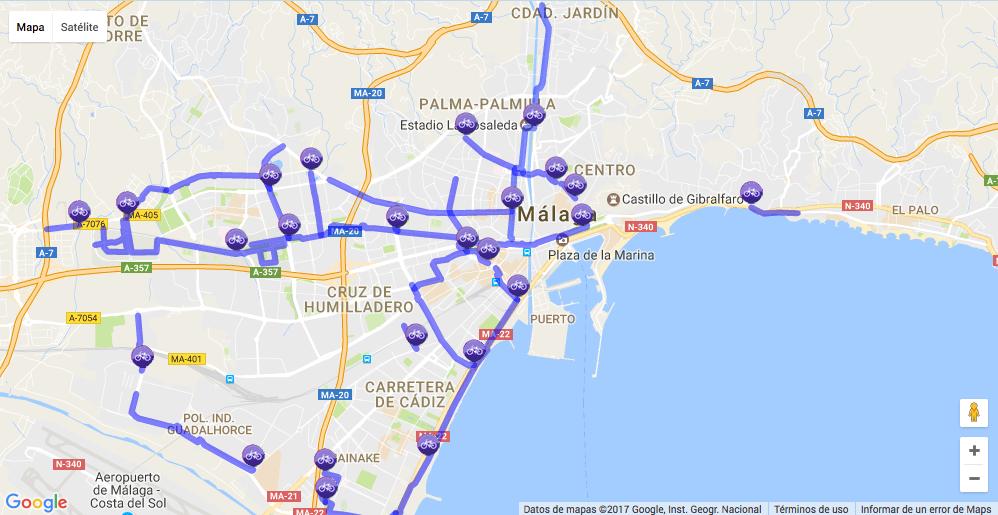 mapa carril bici malaga